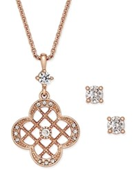 Charter Club Rose Gold Tone Clover Pendant Necklace And Crystal Stud Earrings Set Only At Macy's