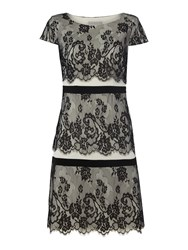 Shubette Lace Three Tier Shift Dress Black White