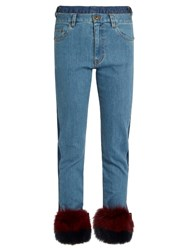 Muveil Fur Panel Mid Rise Slim Leg Jeans Denim Multi