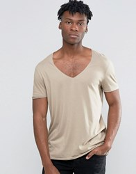 Asos Longline T Shirt With Curved Hem And Raw V Neck In Drape Fabric Blonde Beige