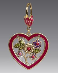 Jay Strongwater Heart And Flowers Key Ring Multi Colors