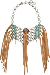 Dannijo Ipsa Oxidized Silver Plated Bead And Suede Necklace