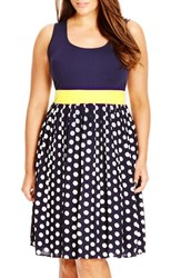 Plus Size Women's City Chic 'Contrast Spot' Mixed Media Dress