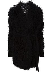 Lost And Found Belted Textured Cardi Coat Black