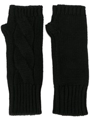 Dolce And Gabbana Cable Knit Fingerless Gloves Black