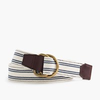 J.Crew Woven Ticking Striped D Ring Belt Rivington Blue Stripe