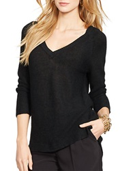 Lauren Ralph Lauren Linen V Neck Sweater Black