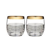 Waterford Circon Dof Tumblers Set Of 2 Gold Band