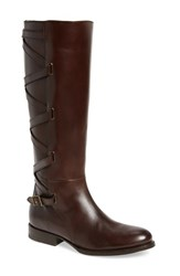 Frye Women's Jordan Strappy Knee High Boot Dark Brown