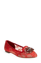 Women's Dolce And Gabbana Crystal And Lace Pointy Toe Flat Red Lace