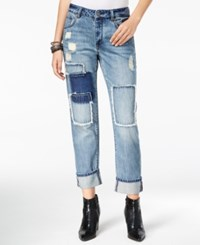 William Rast Slouchy Patched Currently Wash Boyfriend Jeans Currently Blue