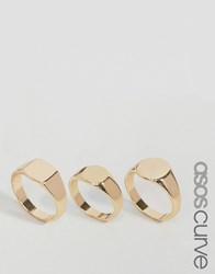 Asos Curve Pack Of 3 Sovereign Ring Pack Gold
