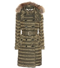 Burberry Chesterford Fur Trimmed Down Coat Green