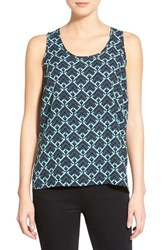 Women's Halogen Scoop Neck Woven Tank Teal A Diamond Prt