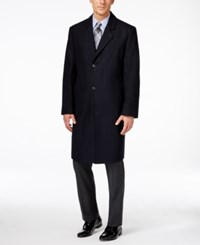London Fog Signature Wool Blend Overcoat Navy