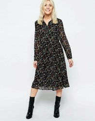 Neon Rose Midi Shirt Dress In Floral Folk Print Multi Black