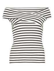 Dorothy Perkins Ivory And Black Stripe Bardot Top White