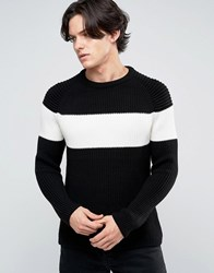 New Look Chunky Knit Contrast Stripe Jumper In Black Black