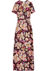 Msgm Printed Stretch Crepe Gown Pink
