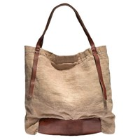 Rissetto Washed Linen Tote Bag Neutral