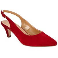John Lewis Grace Kitten Heel Court Shoes Red Red Suede