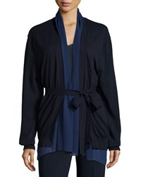 Cnc Costume National Belted Open Front Cardigan Navy Women's