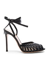 Gianvito Rossi Leather Tie Ankle Heels In Black