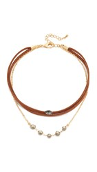 Lacey Ryan Bella Choker Necklace Brown Gold