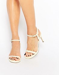 Faith Dolly Lemon Barely There Heeled Sandals Lemon Yellow