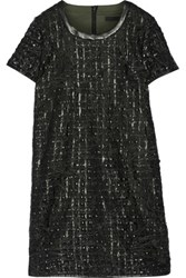 Karl Lagerfeld Daisy Kool Faux Leather Trimmed Embroidered Tulle Mini Dress Black