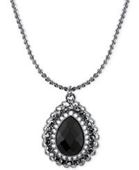 2028 Silver Tone Black Stone Teardrop Pendant Necklace