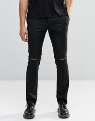 Religion Skinny Trousers With Ripped Knees Black