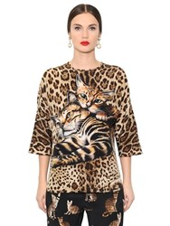 Dolce And Gabbana Leopard Printed Silk Crepe De Chine Top
