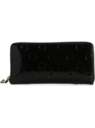 Comme Des Garcons Wallet 'Polka Dots Embossed' Long Zip Around Wallet Black