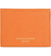 Aspinal Of London Lizard Embossed Leather Id And Travel Card Holder Orange