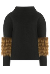 Saks Potts Wool Pullover With Fox Fur Black