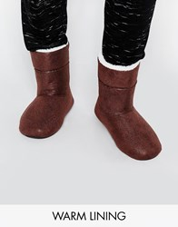 Asos Slipper Boots In Brown With Faux Shearling Lining Brown
