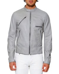Dolce And Gabbana Lamb Leather Biker Jacket Gray