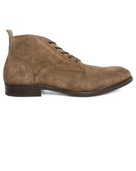 Hudson Beige Cooke Suede Dual Material Laced Boots