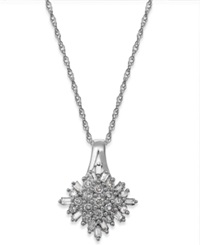 Macy's Diamond Cluster Pendant Necklace In Sterling Silver 1 2 Ct. T.W.
