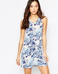 Wal G Mini Dress With Twist Front In Blossom Print Blue