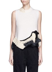3.1 Phillip Lim Crochet Trim Sleeveless Sweater White Multi Colour