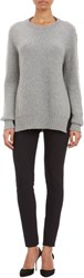 Barneys New York Cashmere Rib Knit Sweater Grey