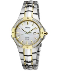 Seiko Women's Coutura Solar Diamond Accent Two Tone Stainless Steel Bracelet Watch 29Mm Sut124