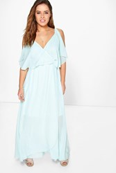 Boohoo Zoe Chiffon Double Layer Wrap Maxi Dress Aqua