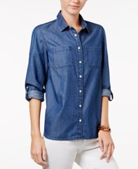 Tommy Hilfiger Pleated Back Denim Shirt Chambray Pink Dot