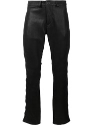 Black Fist Button Knee Leather Pants Black