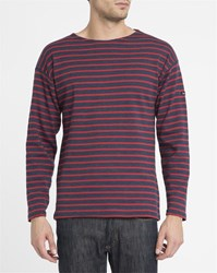 Armor Lux Navy And Red 1525 Classic Sailor Stripe Top Blue