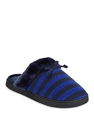 Isotoner Striped Round Toe Faux Fur Slippers Navy Blue