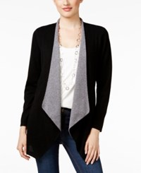 Charter Club Petite Cashmere Draped Front Cardigan Only At Macy's Classic Black